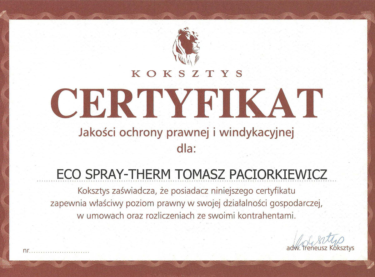 Certyfikat jakości ochrony prawnej i windykacyjnej
