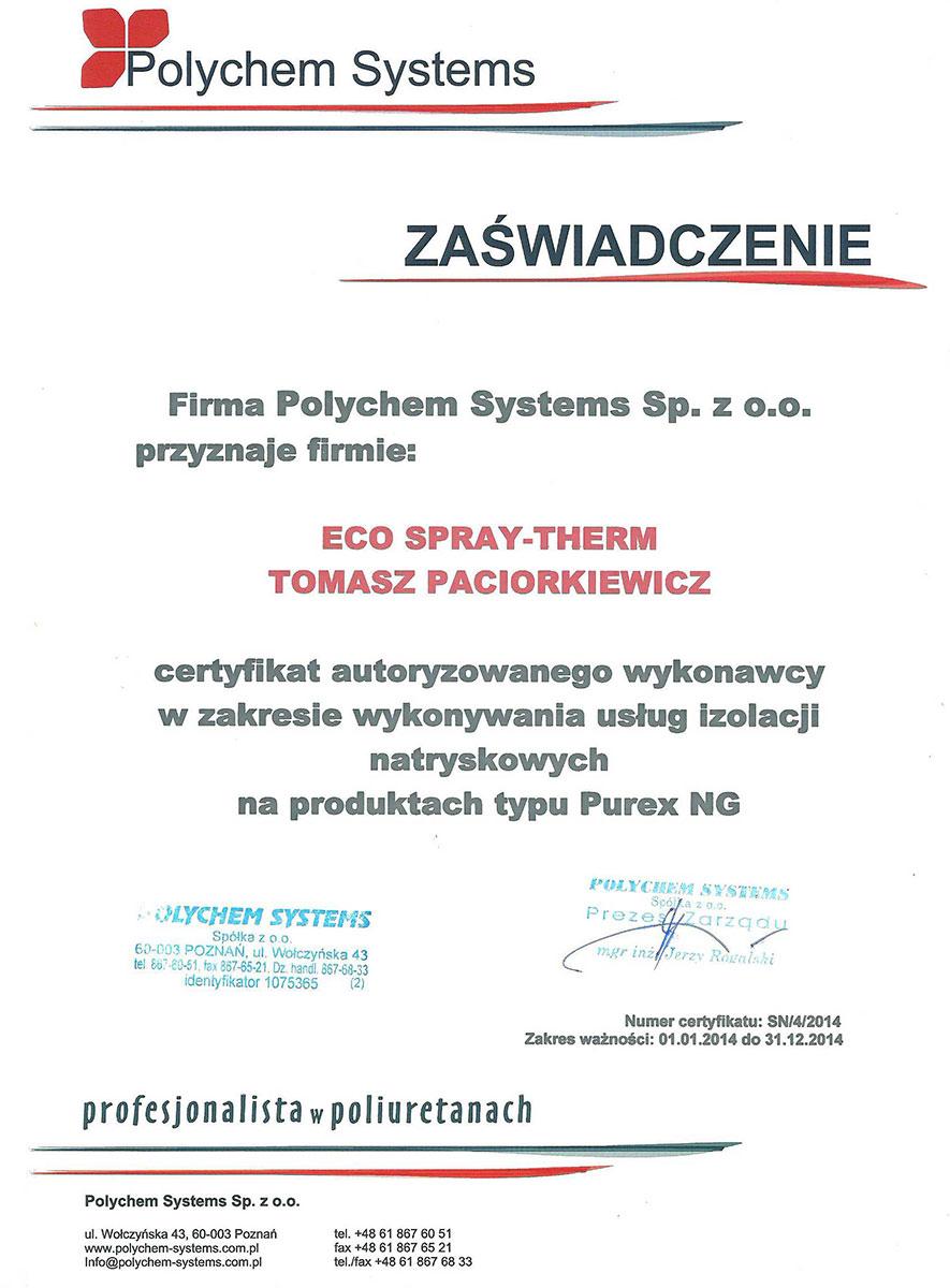 Zaświadczenie od firmy Polychem Systems Sp. z o.o.